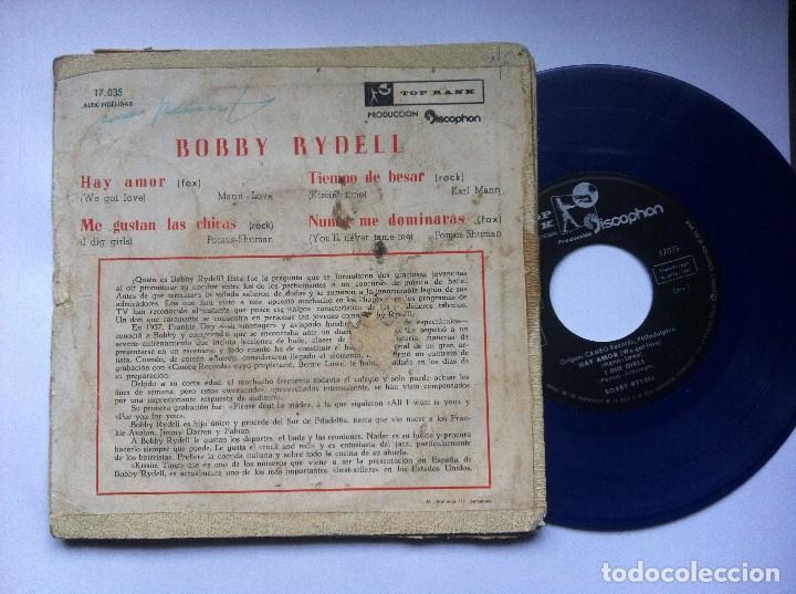 Discos de vinilo: BOBBY RYDELL - me gustan las chicas - EP VINILO AZUL 1960 - TOP RANK / DISCOPHON - Foto 2 - 163955630
