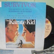 Discos de vinilo: BSO - KARATE KID -- SURVIVOR EL MOMENTO DE LA VERDAD SINGLE SPAIN 1984 PDELUXE. Lote 163962326