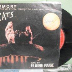 Discos de vinilo: BSO - CATS -- ELAINE PAIGE MEMORY SINGLE SPAIN 1981 PDELUXE. Lote 163963614