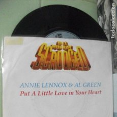 Discos de vinilo: BSO ANNIE LENNOX & AL GREEN PUT A LITTLE LOVE IN YOUR HEA.. SINGLE GERMANY 1988 PDELUXE. Lote 163968254