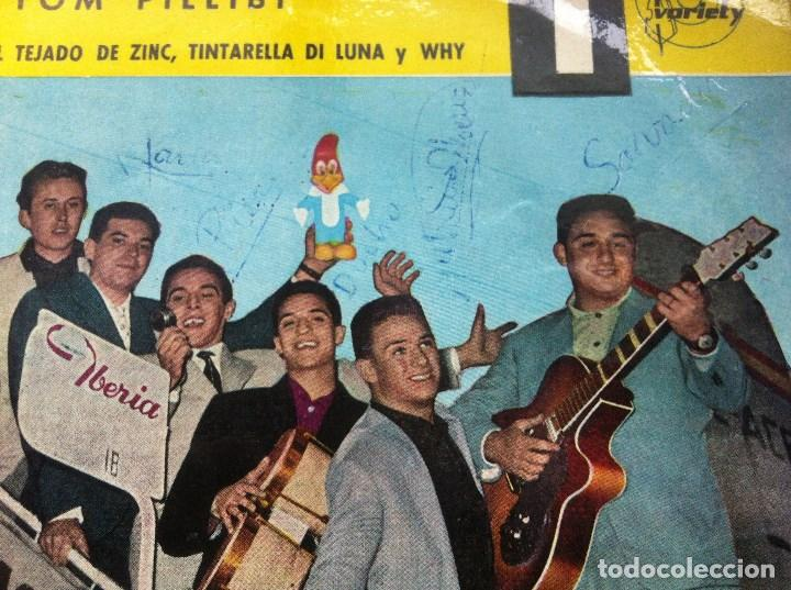 Discos de vinilo: PAJAROS LOCOS - tom pillibi - EP 1960 - VARIETY -EUROVISION-CON FIRMAS DE LA BANDA Y DEDICATORIA - Foto 2 - 163972874