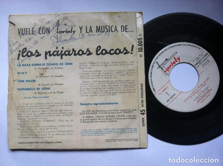 Discos de vinilo: PAJAROS LOCOS - tom pillibi - EP 1960 - VARIETY -EUROVISION-CON FIRMAS DE LA BANDA Y DEDICATORIA - Foto 3 - 163972874