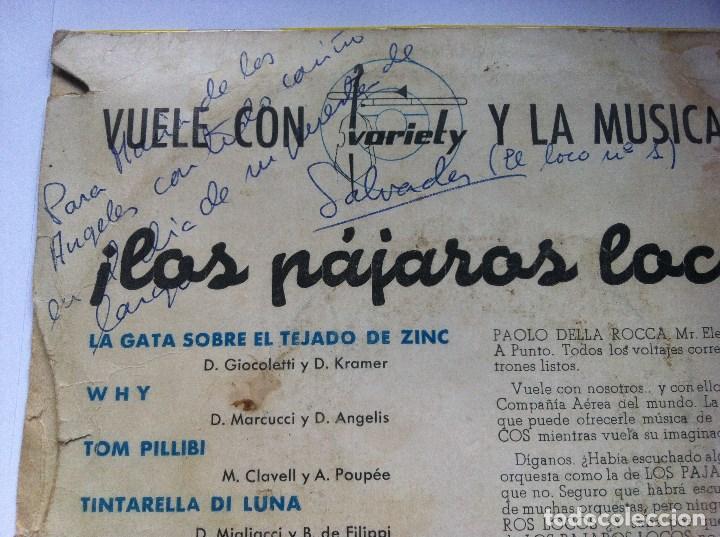Discos de vinilo: PAJAROS LOCOS - tom pillibi - EP 1960 - VARIETY -EUROVISION-CON FIRMAS DE LA BANDA Y DEDICATORIA - Foto 4 - 163972874