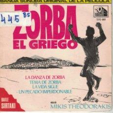 Dischi in vinile: BSO-ZORBA EL GRIEGO - MUSIC OF MIKIS THEODORAKIS (EP ESPAÑOL, 20TH CENTURY FOX RECORDS 1965). Lote 164092294