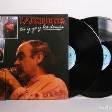 Discos de vinilo: DISCO DOBLE LP DE VINILO - LABORDETA / TU Y YO Y LOS DEMÁS - FONOMUSIC - 1986 - PORTADA ABIERTA. Lote 164118265