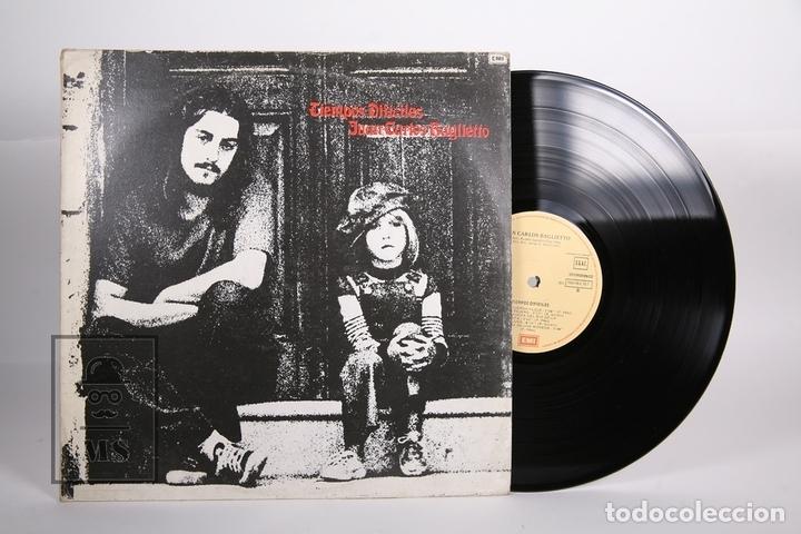 DISCO LP DE VINILO - JUAN CARLOS BAGLIETTO / TIEMPOS DIFICILES - EMI - 1982 - ENCARTE CON LETRAS (Música - Discos - LP Vinilo - Solistas Españoles de los 70 a la actualidad)