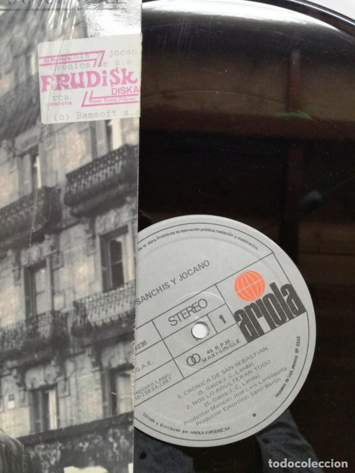 Discos de vinilo: SANCHIS Y JOCANO. CRÓNICA DE SAN SEBASTIÁN. ARIOLA, 1987. ESPAÑA. MAXI SINGLE VINILO - Foto 2 - 164234298