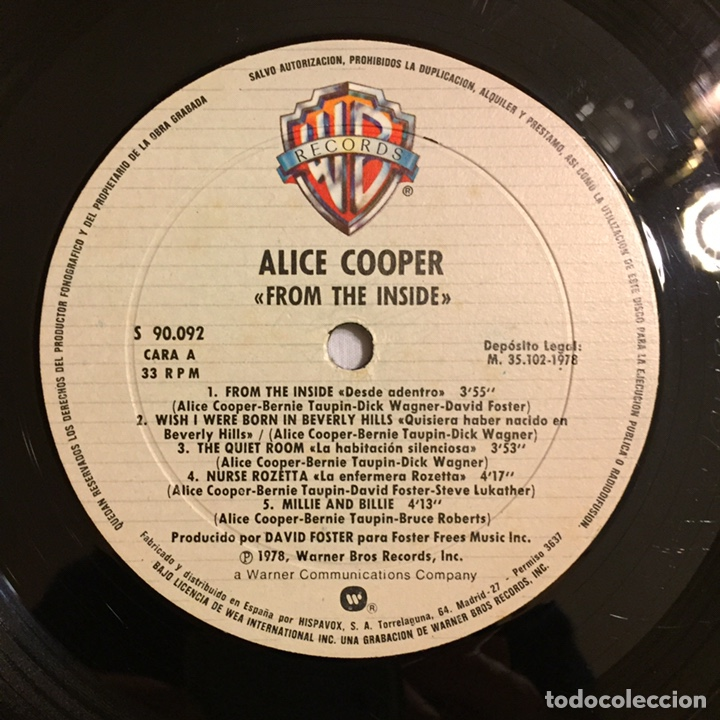 Discos de vinilo: ALICE COOPER - FROM THE INSIDE LP, 1978, ESPAÑA, PRIMERA EDICIÓN - Foto 11 - 164378388