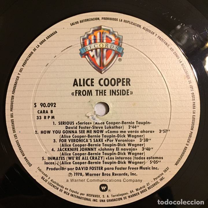Discos de vinilo: ALICE COOPER - FROM THE INSIDE LP, 1978, ESPAÑA, PRIMERA EDICIÓN - Foto 13 - 164378388