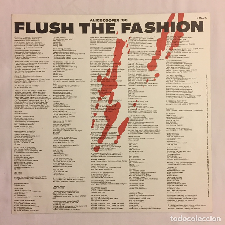 Discos de vinilo: ALICE COOPER - FLUSH THE FASHION LP, 1980, ESPAÑA - Foto 6 - 164378417