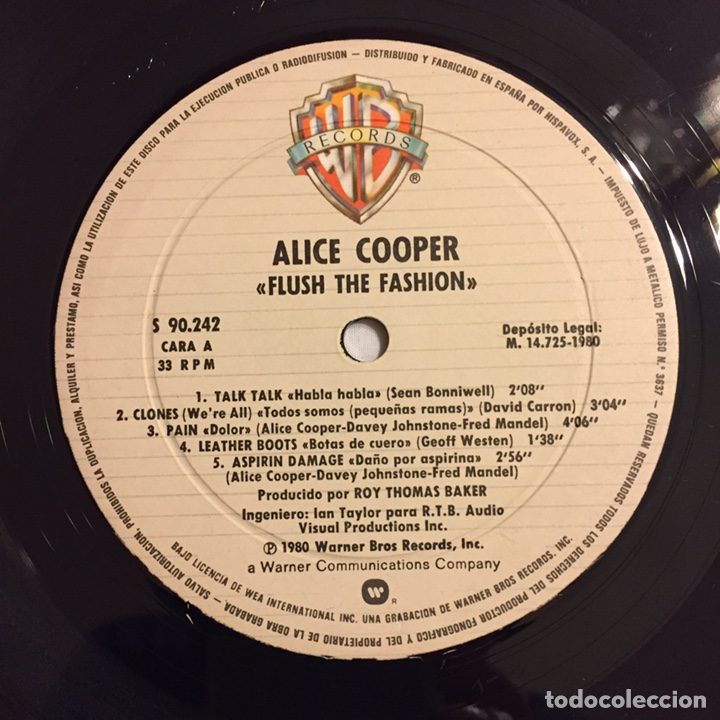 Discos de vinilo: ALICE COOPER - FLUSH THE FASHION LP, 1980, ESPAÑA - Foto 7 - 164378417