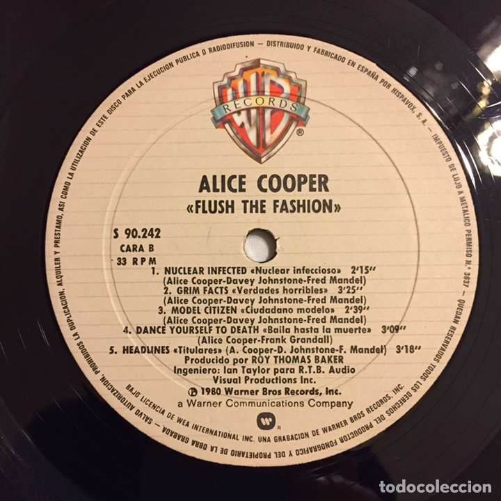 Discos de vinilo: ALICE COOPER - FLUSH THE FASHION LP, 1980, ESPAÑA - Foto 8 - 164378417