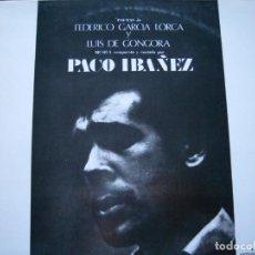 Discos de vinilo: PACO IBÁÑEZ POEMAS DE FEDERICO GARCÍA LORCA Y LUIS DE GÓNGORA CONTRAPORTADA ILUSTRADA POR DALÍ 1970. Lote 164500158
