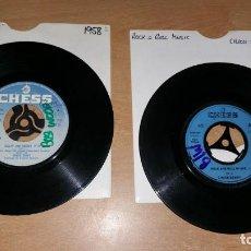 Discos de vinilo: 2 SINGLES CHUCK BERRY REELIN AND ROCKIN ROCK ROLL MUSIC JHONNY B. GOODE CHESS. Lote 164524378