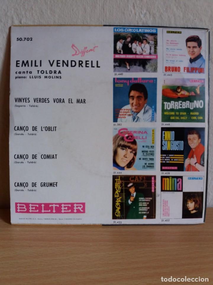 Discos de vinilo: EP ** EMILI VENDRELL ** TOLDRA / CINYES VERDES VORA EL MAR ** COVER/ NEAR MINT ** EP/ MINT ** 1964 - Foto 2 - 164734778