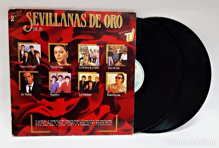 DISCO DE VINILO LP DOBLE SEVILLANAS DE ORO VOL 19 (Música - Discos - LP Vinilo - Flamenco, Canción española y Cuplé)