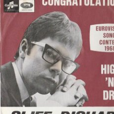 Disques de vinyle: CLIFF RICHARD CONGRATULATIONS STAMPA BELGA EUROVISION SONG CONTEST 1968. Lote 164803690