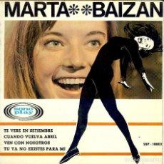Discos de vinilo: MARTA BAIZAN TE VERE EN SEPTIEMBRE - CUANDO VUELVA EN ABRIL - TU YA NO EXITES PARA MI - AÑO 1966. Lote 164921782