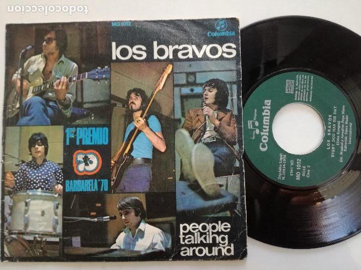 LOS BRAVOS - PEOPLE TALKING AROUND +1 - SINGLE COLUMBIA 1970 // 1º PREMIO BARBARELLA (Música - Discos - Singles Vinilo - Grupos Españoles de los 70 y 80)