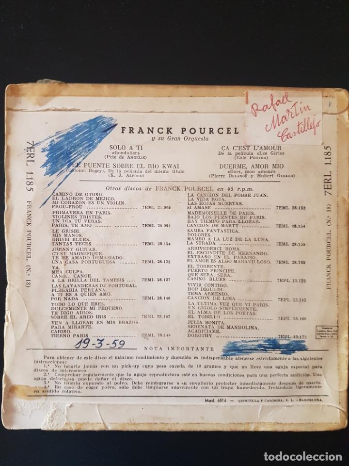 Discos de vinilo: FRANK POURCEL EL PUENTE SOBRE EL RIO KWAI 45 RPM - Foto 2 - 164939502