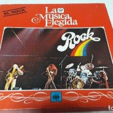 Discos de vinilo: CAJA DE 4 LPS + LIBRO DE 100 PGS DEL ROCK LA MUSICA ELEGIDA MUY BUEN ESTADO. Lote 164953634