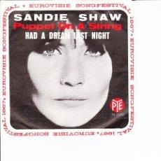 Discos de vinilo: SANDIE SHAW PUPPET ON A STRING PYE LABEL HOLLAND GRAND PRIX EUROVISIE . Lote 165033242