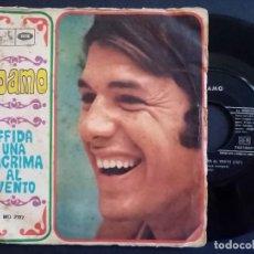 Discos de vinilo: ADAMO - AFFIDA UNA LACRIMA AL VENTO + FERMARE IL TEMPO - SINGLE ITALIANO 1968 - LA VOCE DEL PADRONE. Lote 165213894