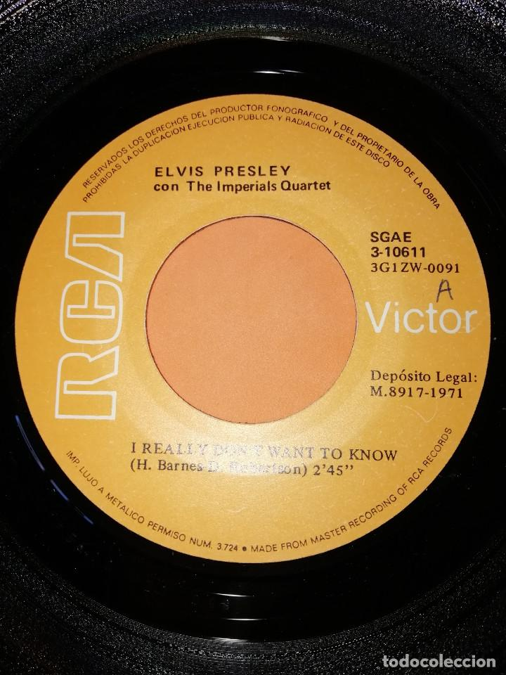Discos de vinilo: ELVIS PRESLEY / I REALLY DON'T WANT TO KNOW / THERE GOES MY EVERYTHING (SINGLE 1971) - Foto 4 - 165218294