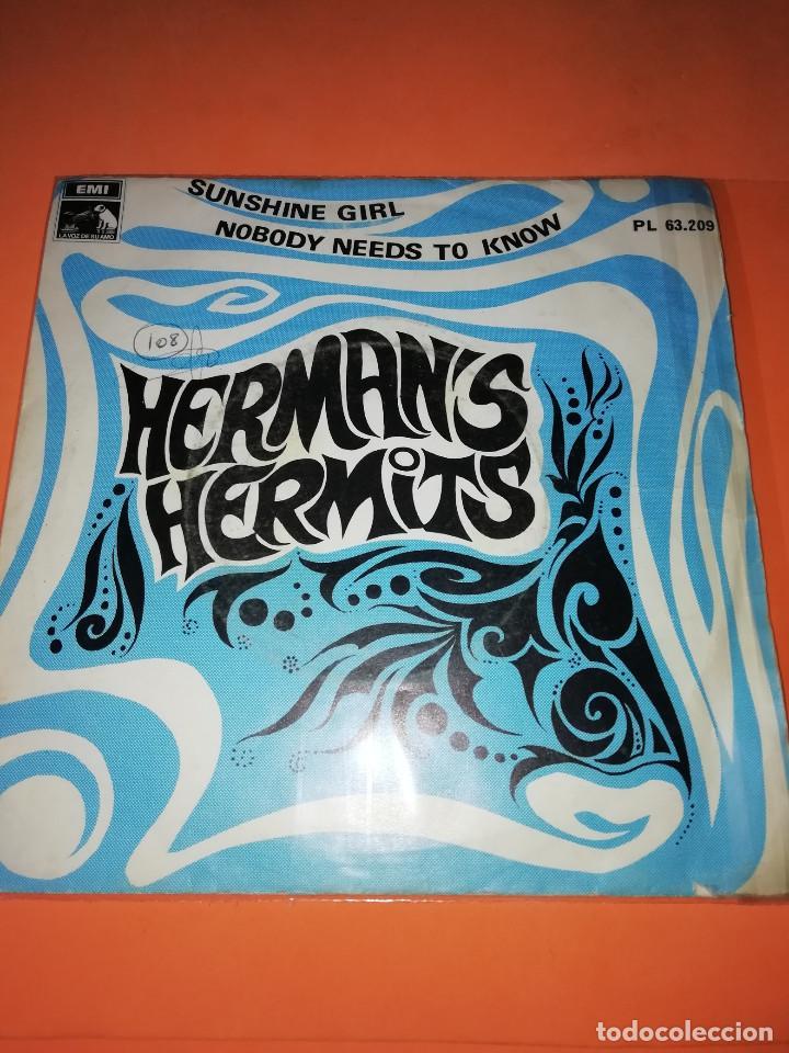HERMANS HERMITS . SUNSHINE GIRL + NOBODY NEEDS TO KNOW / EMI - LA VOZ DE SU AMO 1968 (Música - Discos - Singles Vinilo - Pop - Rock Extranjero de los 50 y 60)