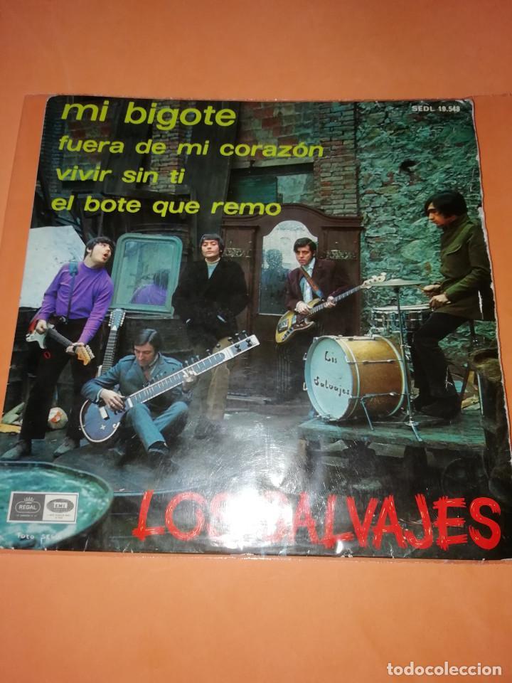 LOS SALVAJES. MI BIGOTE. FUERA DE MI CORAZON. VIVIR ..REGAL 1967. 4 CANCIONES (Música - Discos - Singles Vinilo - Grupos Españoles 50 y 60)