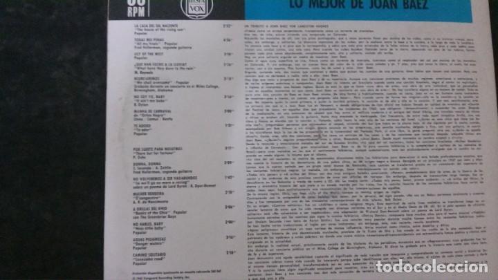 Discos de vinilo: LP-LO MEJOR DE JOAN BAEZ-HISPAVOX - Foto 2 - 165233138