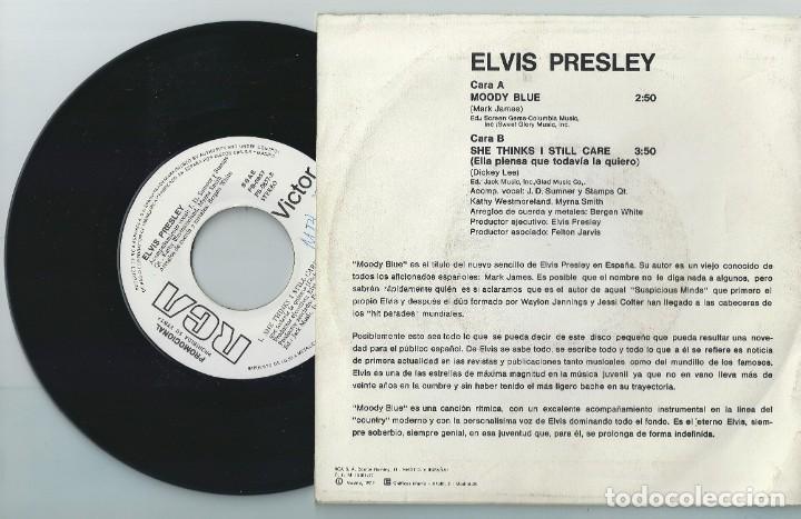 Discos de vinilo: ELVIS PRESLEY Single Moody..SPAIN RCA /Rareza Promo Copy White Lavel-ROCKABILLY(COMPRA MINIMA 15 EUR - Foto 2 - 165274046