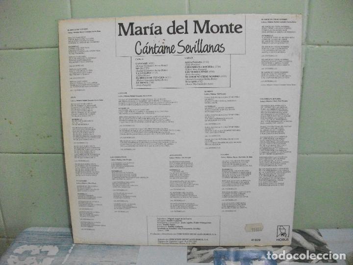 Discos de vinilo: MARIA DEL MONTE CANTAME SEVILLANAS, SINTI ,CANTAME,YA LO SABES...LP HORUS DE 1988 PEPETO - Foto 2 - 165309226