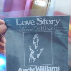 Discos de vinilo: ANDY WILLIAMS LOVE STORY / SOMETHING CBS 7020 SIN CARÁTULA ED. ESPAÑOLA 1971. Lote 165333849