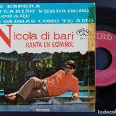 Discos de vinilo: NICOLA DI BARI - ME ESPERA + UN CARIÑO VERDADERO + LLORARE + YA SABRAS CUANDO TE AMO - EP 1966 - ZAF. Lote 165358742