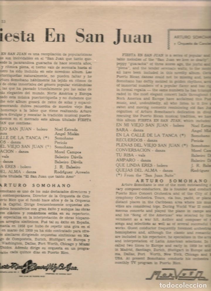 Discos de vinilo: LP. FIESTA EN SAN JUAN. ORQUESTA: ARTURO SOMOHANO. (P/B72) - Foto 2 - 165529394