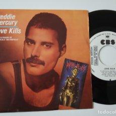 Discos de vinilo: FREDDIE MERCURY- LOVE KILLS - SPAIN PROMO SINGLE 1984 - QUEEN - VINILO COMO NUEVO.. Lote 165703114