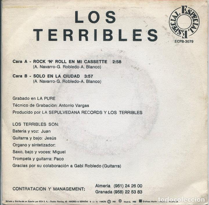 Discos de vinilo: LOS TERRIBLES / ROCK N EN MI CASSETTE / SOLO EN LA CIUDAD (SINGLE 1983) - Foto 2 - 165767386