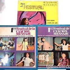 Discos de vinilo: 3 SINGLES CON EL 1º Y 2º FESTIVAL DE LA CANCIÓN MENSAJE DE COLEGIOS DE Mª AUXILIADORA . Lote 165770850