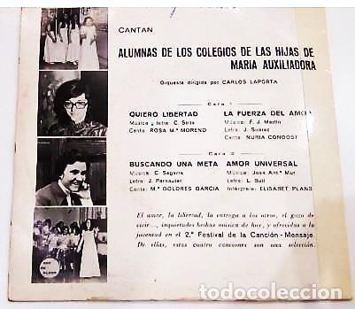 Discos de vinilo: 3 SINGLES CON EL 1º Y 2º FESTIVAL DE LA CANCIÓN MENSAJE DE COLEGIOS DE Mª AUXILIADORA - Foto 7 - 165770850