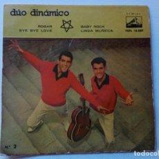 Discos de vinilo: DISCO DE DÚO DINÁMICO. ROGAR - BYE BYE LOVE -BABY ROCK - LINDA MUÑECA.. Lote 165793454