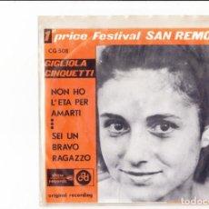 Discos de vinilo: GIGLIOLA CINQUETTI NON HO L'ETA' PER AMARTI SHOW RECORDS 1964 CGD BELGIUM. Lote 165832986