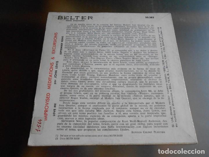 Discos de vinilo: JOHN LEWIS - IMPROVISED MEDITATIONS & EXCURSIONS -, EP, LOVE ME + 1, AÑO 1960 - Foto 2 - 165859210