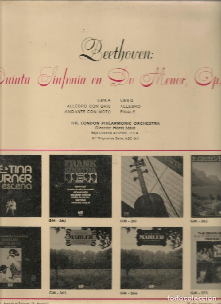 Discos de vinilo: LP. BEETOVEN. QUINTA SINFONIA EN DO MENOR. OP 67. (P/B72) - Foto 2 - 165976890