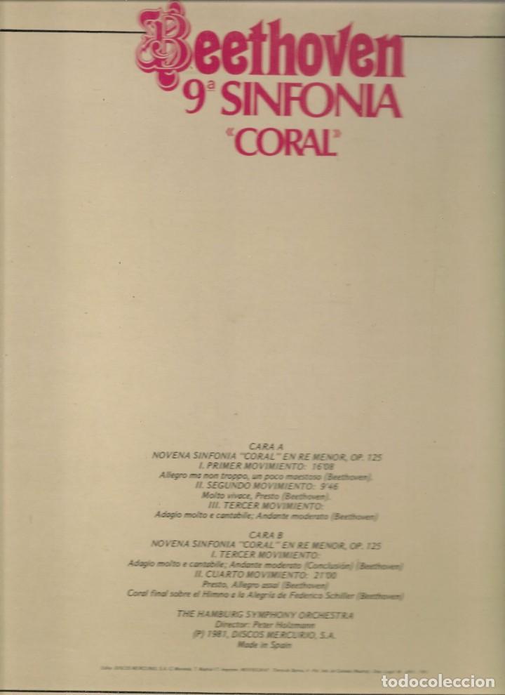 Discos de vinilo: LP. BEETOVEN. 9 SINFONIA. ¨CORAL ¨. (P/B72) - Foto 2 - 165977134