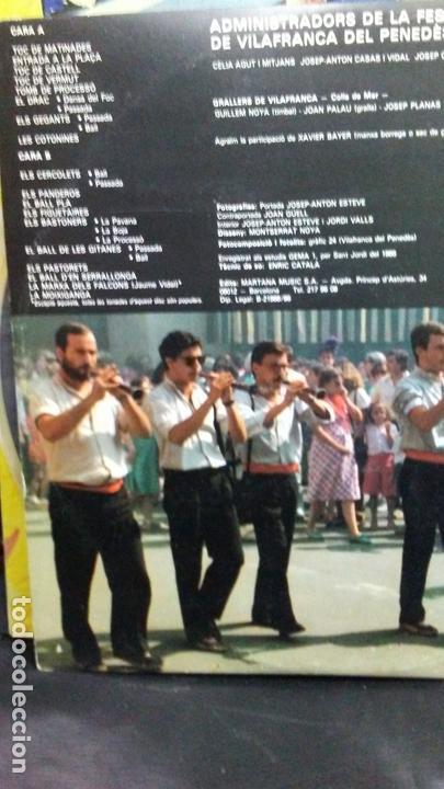 Discos de vinilo: FESTA MAYOR DE VILAFRANCA DEL PENEDES-GRALLERS DE VILAFRANCA -COLLA DE MAR - Foto 2 - 166024874