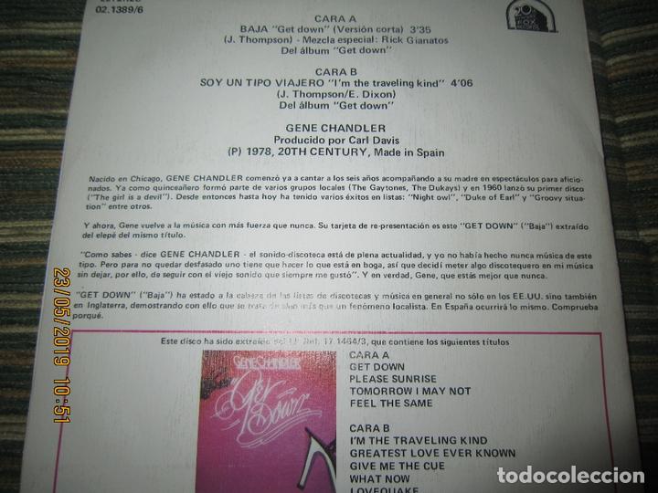 Discos de vinilo: GENE CHANDLER - GET DOWN SINGLE ORIGINAL ESPAÑOL - 20 CENTURY FOX RECORDS 1978 - MUY NUEVO (5). - Foto 2 - 166042510