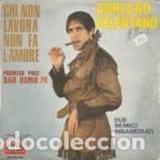 Discos de vinilo: ADRIANO CELENTANO PREMIER PRRIX SAN REMO 1970 VOGUE LABEL FRANCE DUE NEMICI INNAMORATI . Lote 166238834