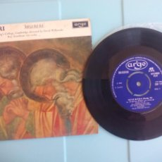Discos de vinilo: GREGORIO ALLEGRI MISERERE. 1964. UK EP. ARGO EAF III. Lote 195261106
