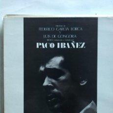 Discos de vinilo: PACO IBAÑEZ POEMAS DE FEDERICO GARCIA LORCA Y GONGORA . Lote 166285414